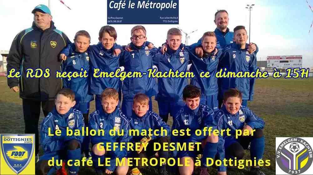 Dimanche 22/04/2018, le Royal Dottignies Sports Equipe 1ère P2 reçoit le V.V. Emelgem-Kachtem