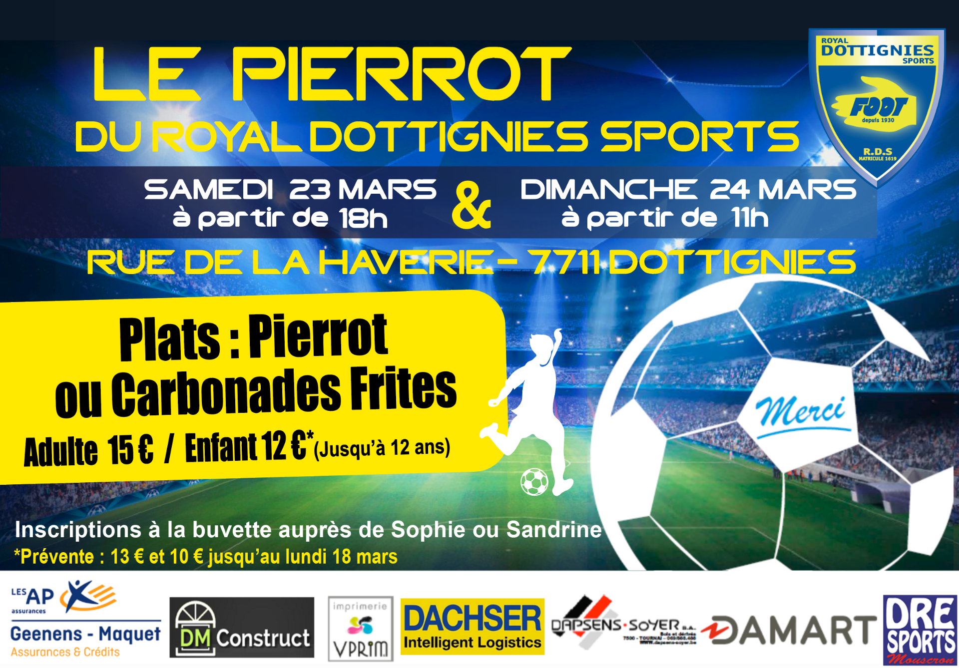 Repas Pierrots au Royal Dottignies Sports