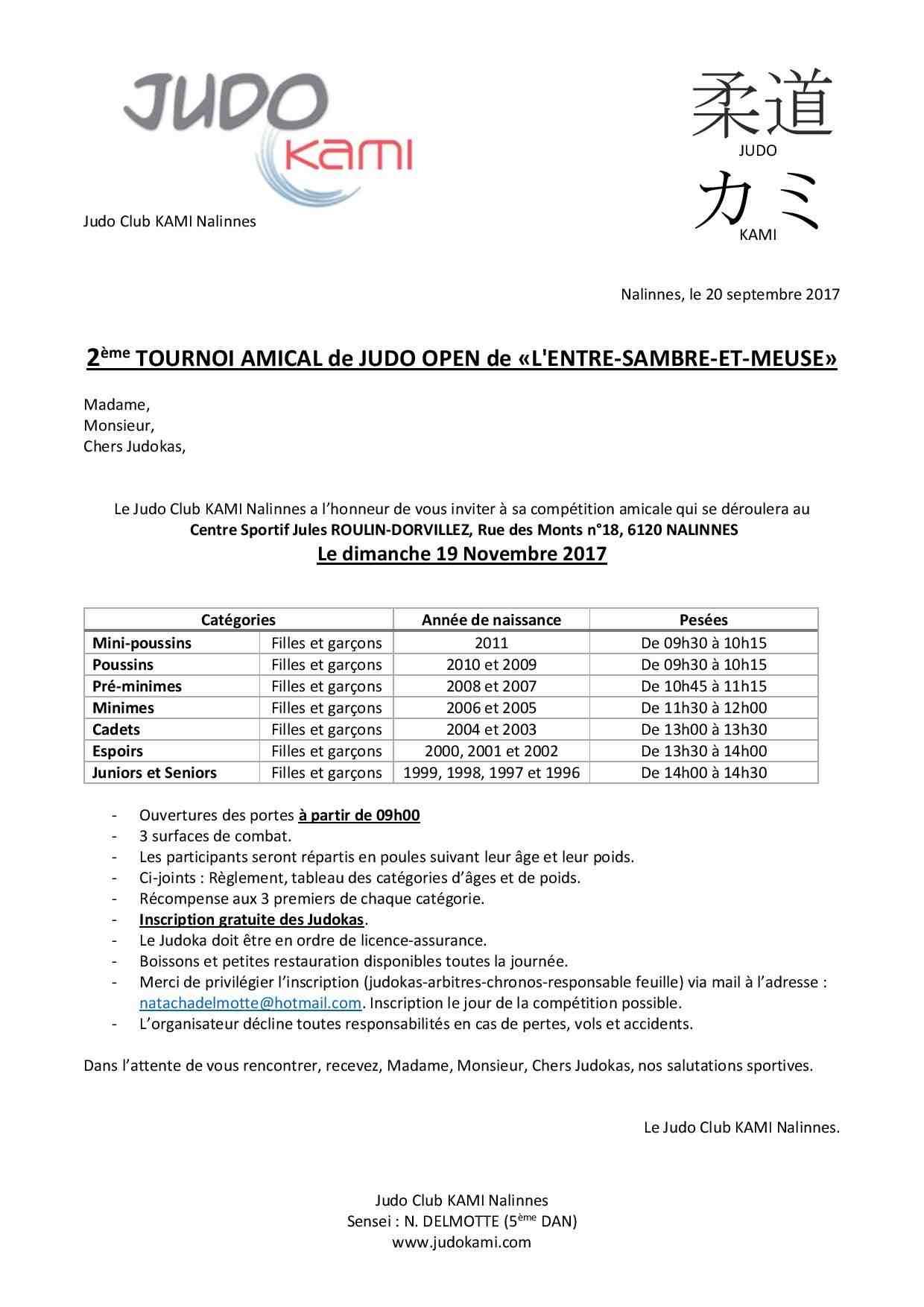 2 èmeTOURNOI DE JUDO OPEN DE L'ENTRE-SAMBRE-ET-MEUSE